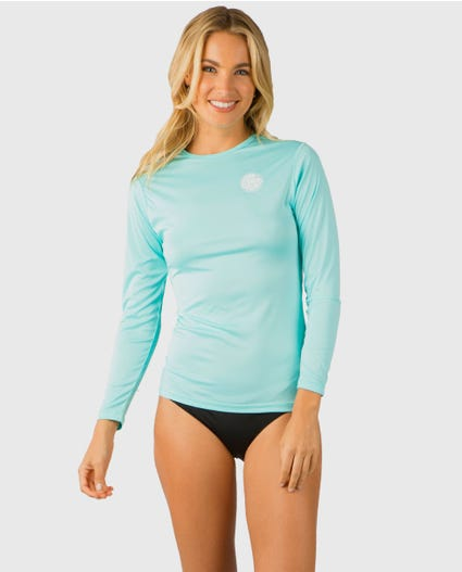 Whitewash Loose Fit Long Sleeve Rash Guard in Black