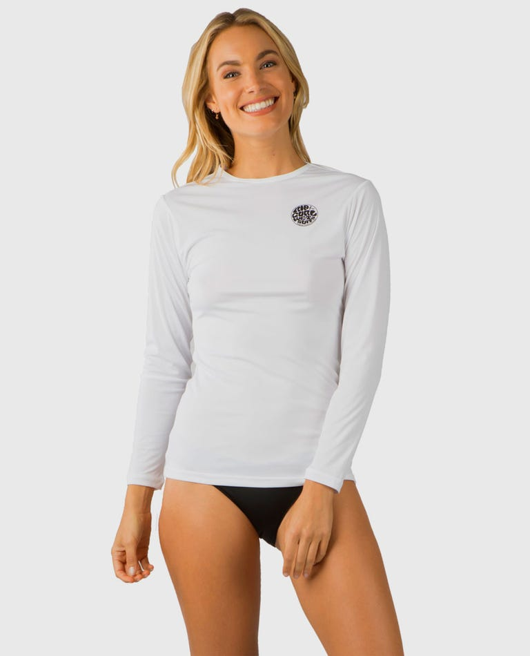Whitewash Loose Fit Long Sleeve Rash Guard in White