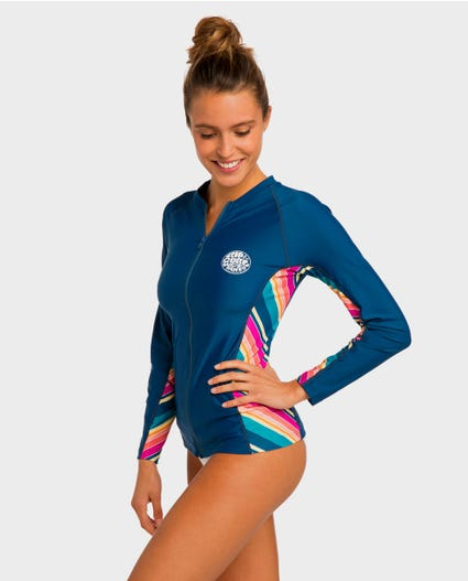 Hanna Long Sleeve Front Zip Rash Guard in Teal