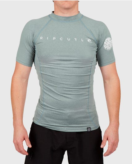 Dawn Patrol Short Sleeve Rash Guard in Aqua