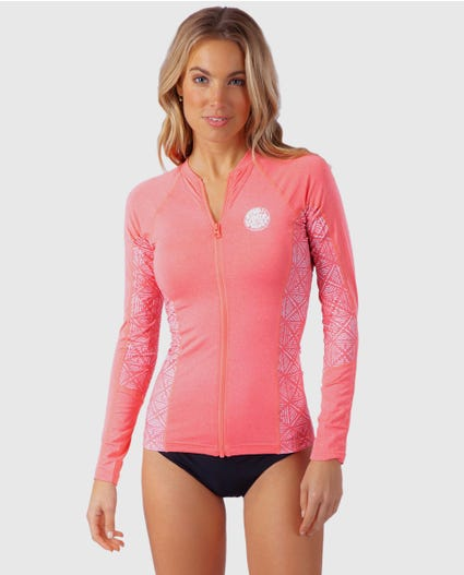 Trestles Front Zip Rash Guard in Blue