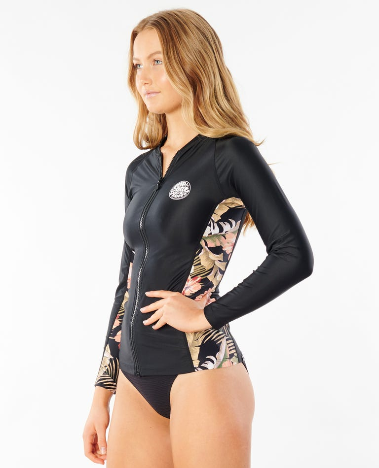 Leilani Zip Through Long Sleeve Rash Guard in Black