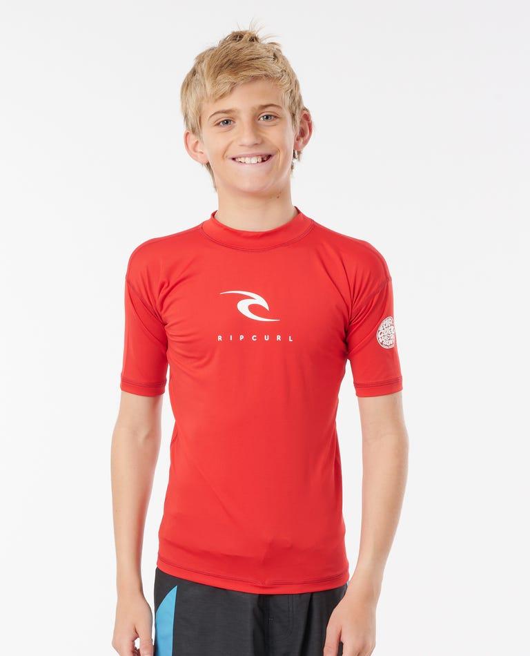 Kids Corpo Short Sleeve UV Tee in Red