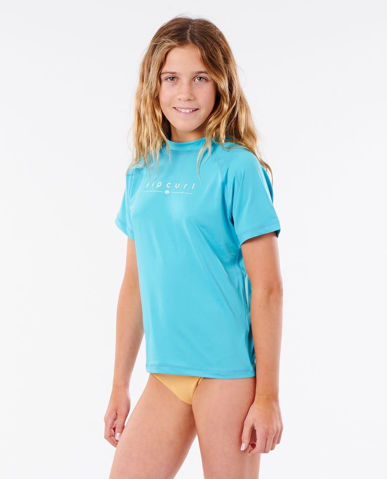 Girls Golden Rays Short Sleeve UV Tee in Light Blue