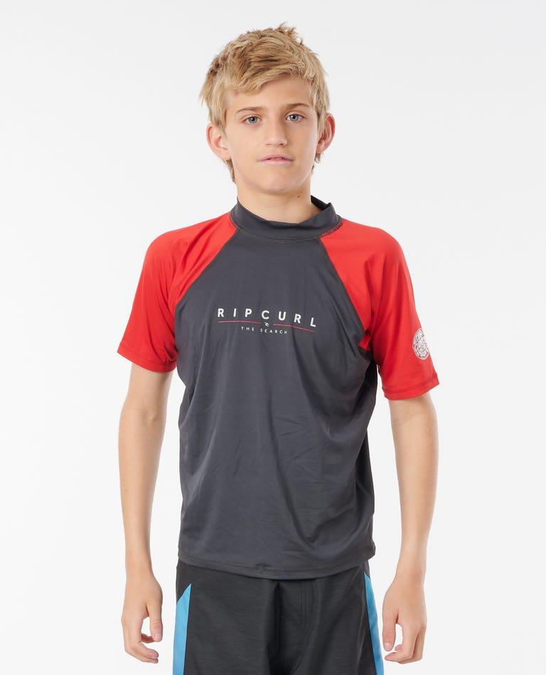 Kids Shockwaves Short Sleeve UV Tee in Red