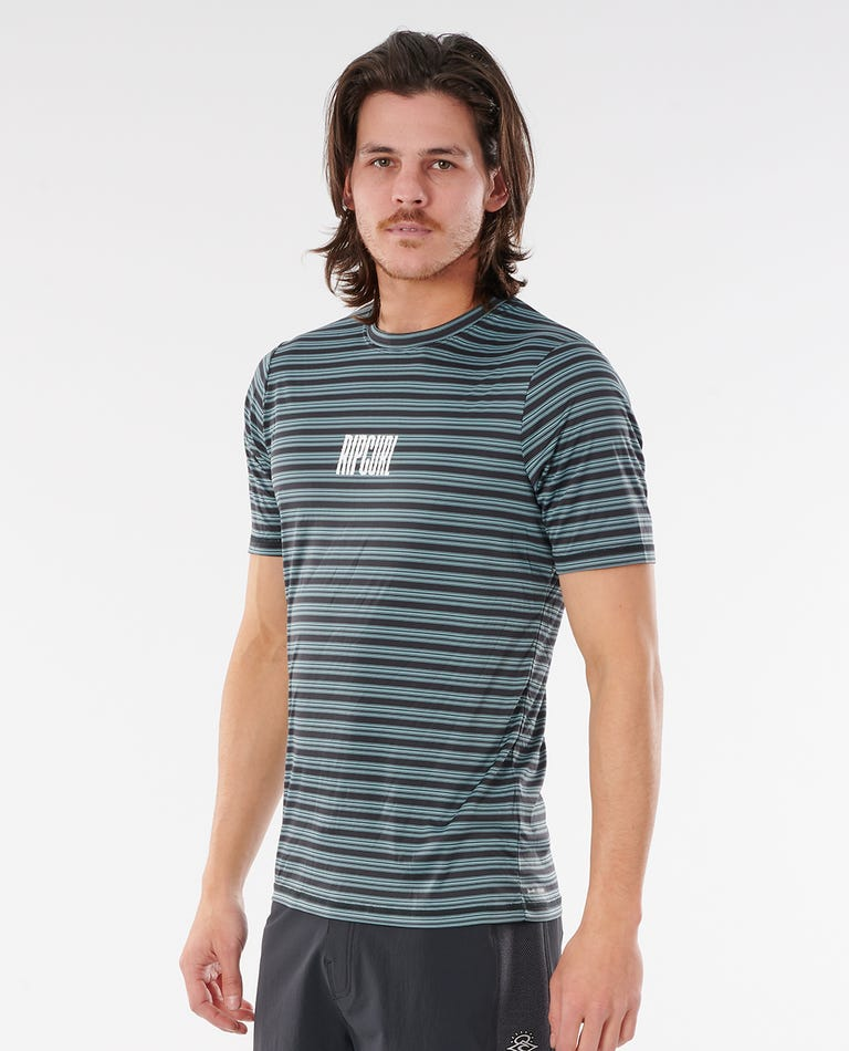 Mind Wave Stripe Short Sleeve UV Tee in Mid Blue