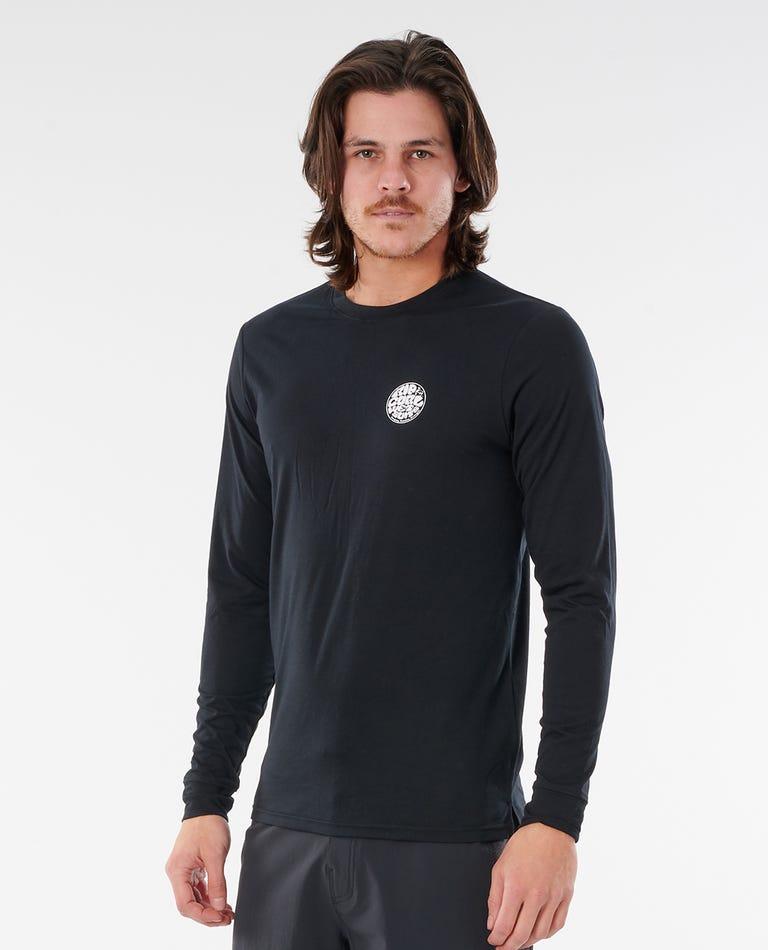 Wettie Logo Long Sleeve UV Tee in Black