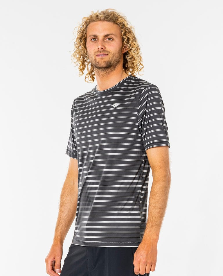Plain Stripe Short Sleeve Surflite Tee in Black
