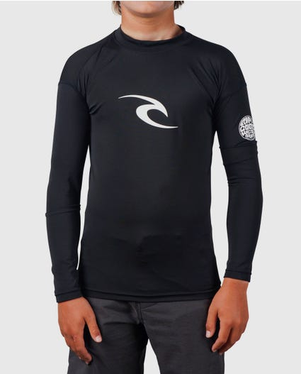 Boys Corpo Long Sleeve Rash Guard in Black