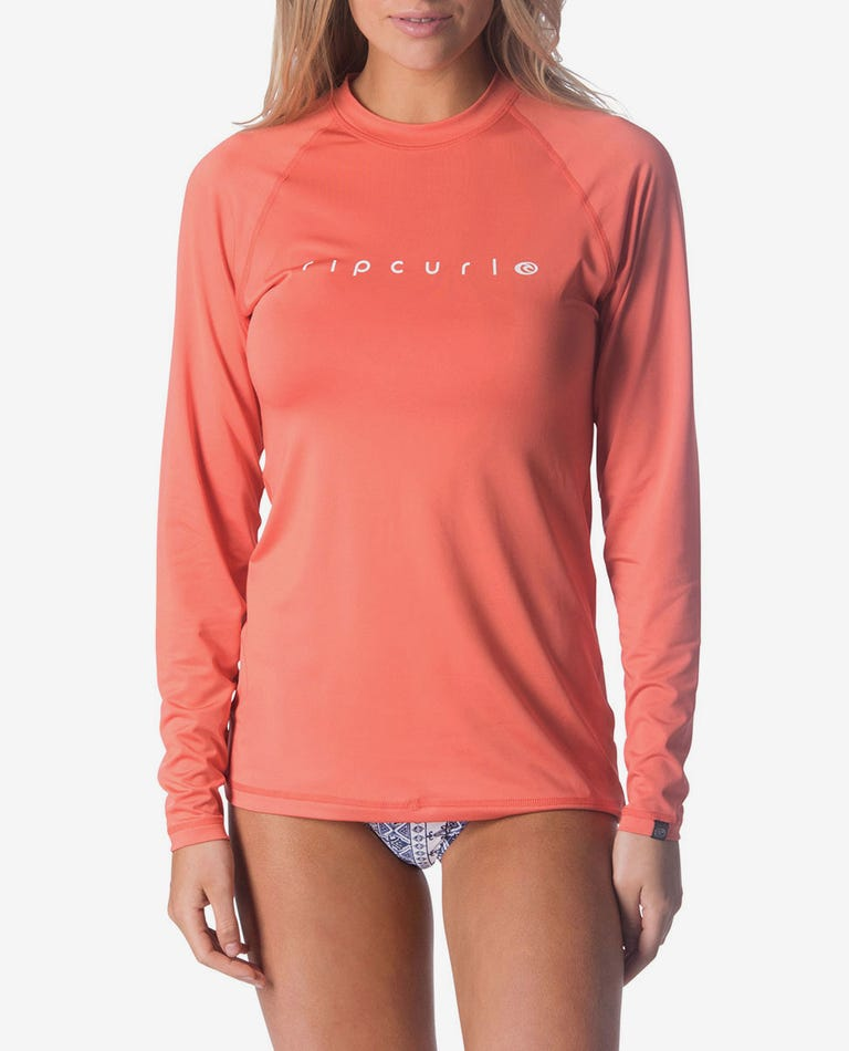 Sunny Rays Relaxed Fit Rash Guard in Coral
