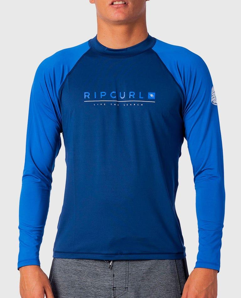 Shockwave Relaxed Long Sleeve UV Tee Rash Guard in Blue