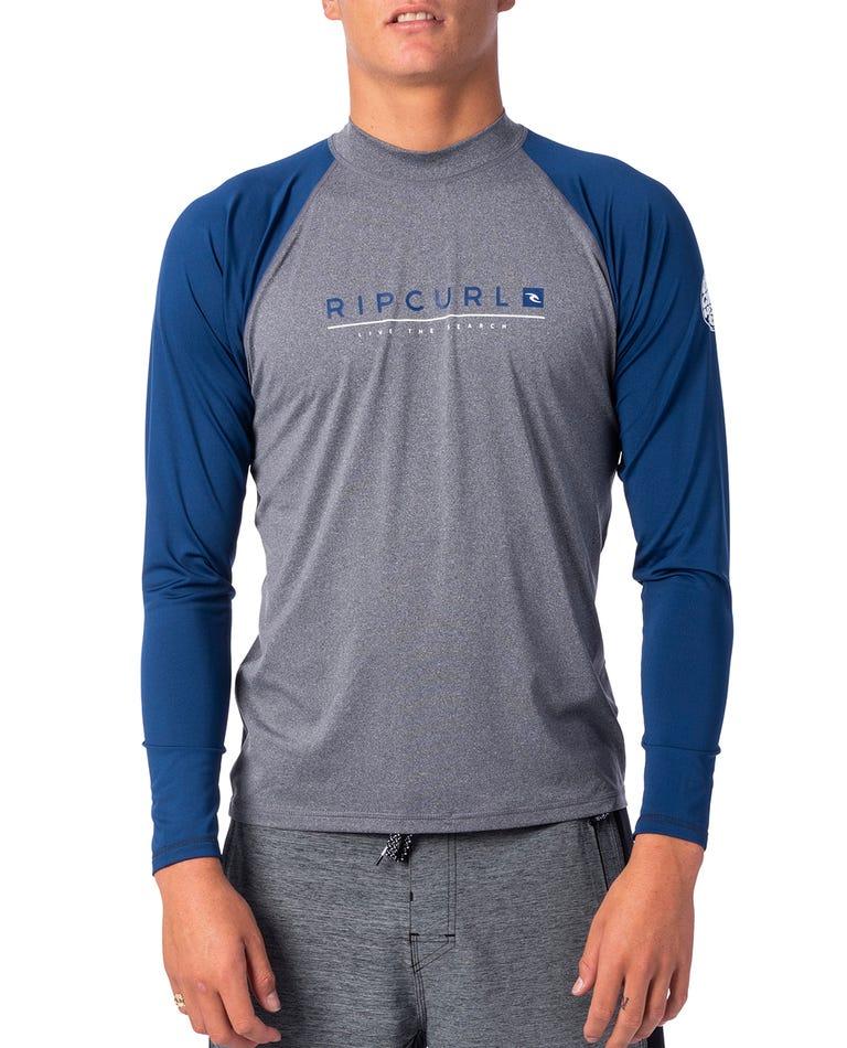 Shockwave Relaxed Long Sleeve UV Tee Rash Guard in GreyBlue/Asphalt