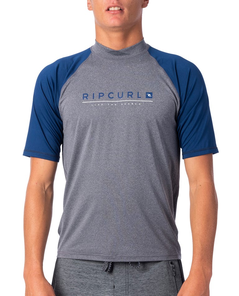 Shockwave Relaxed Short Sleeve UV Tee Rash Guard in GreyBlue/Asphalt