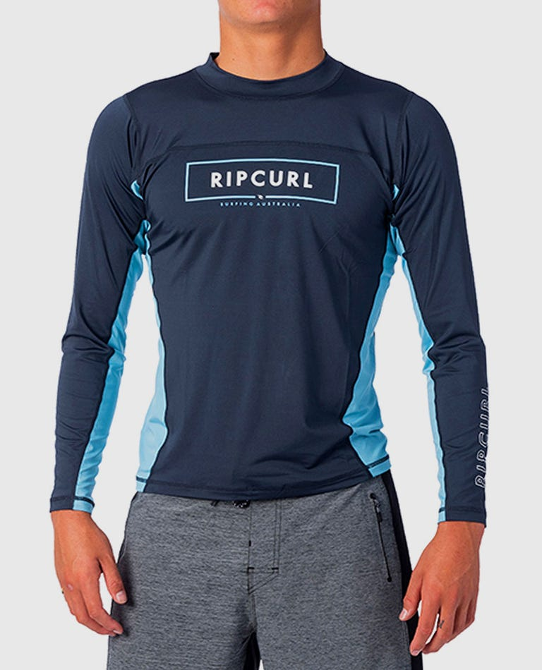 Underline Relaxed Long Sleeve UV Tee Rash Guard in Navy