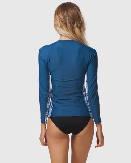 Beach Bazaar Front Zip Rash Guard in Navy