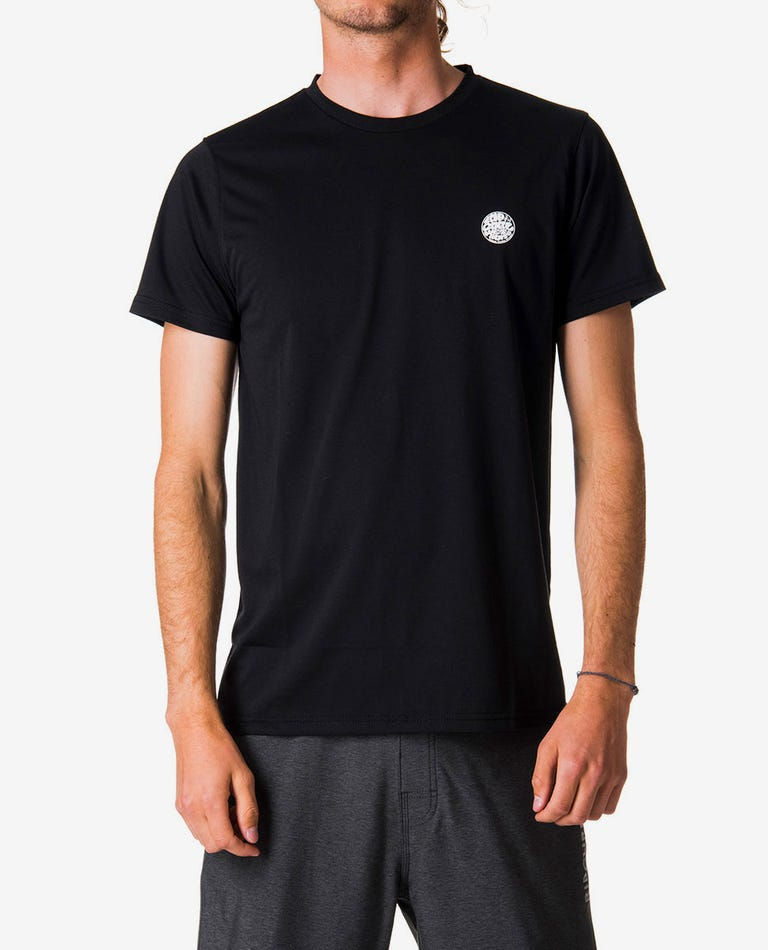 Search Surflite Short Sleeve UV Tee Rash Vest in Black