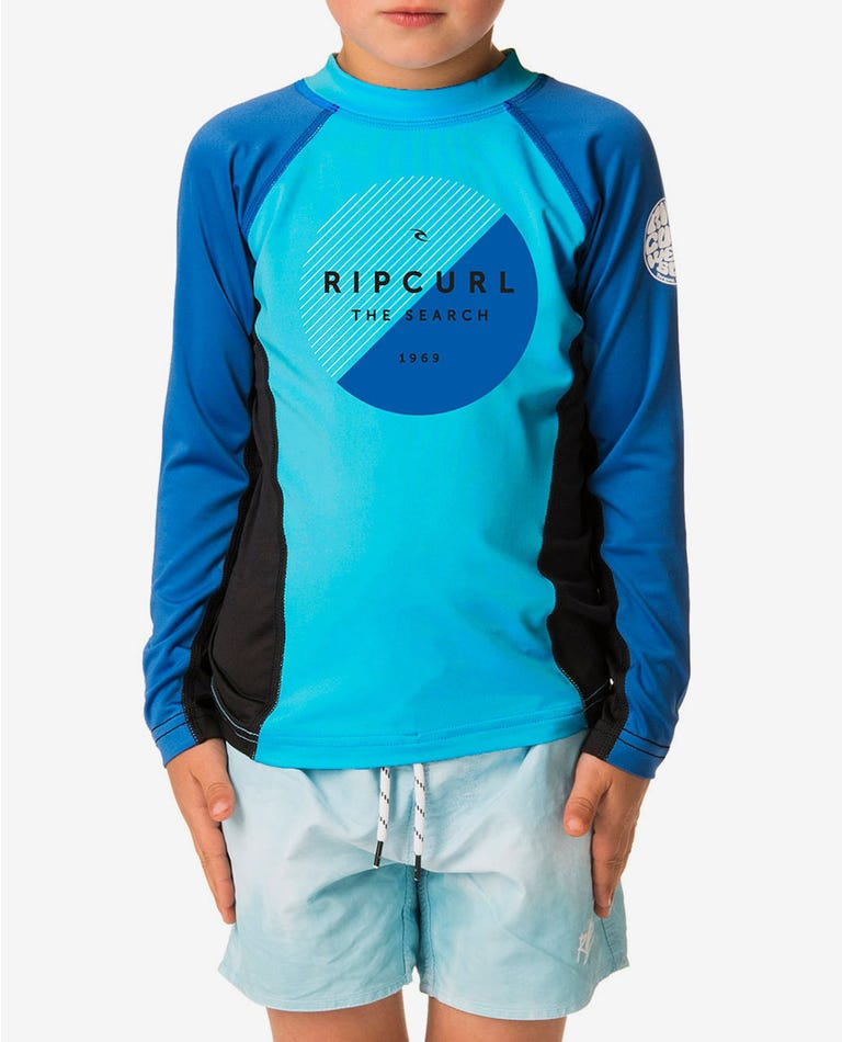 Grom Eclipse Long Sleeve UV Tee Rash Vest in Blue