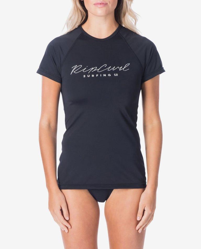 Rosewood Short Sleeve UV Tee Rash Vest in Black