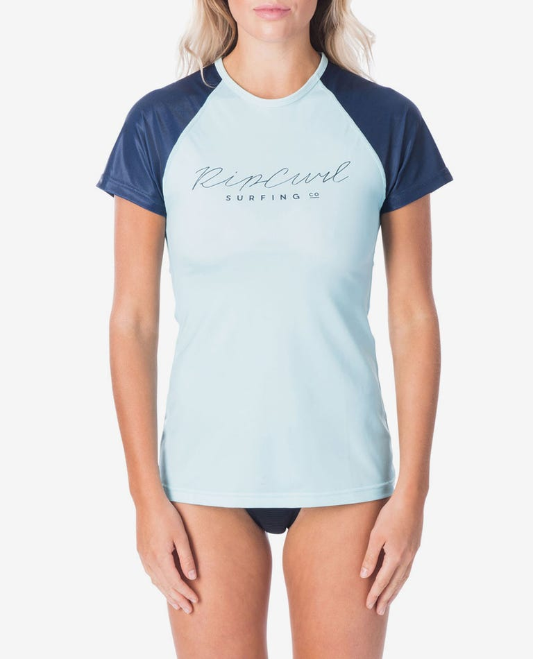 Rosewood Short Sleeve UV Tee Rash Vest in Light Blue