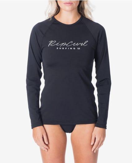 Rosewood Long Sleeve UV Tee Rash Vest in Black