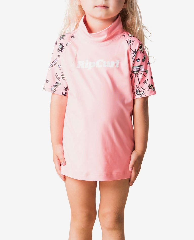 Mini Anak Short Sleeve UV Tee Rash Vest in Peach