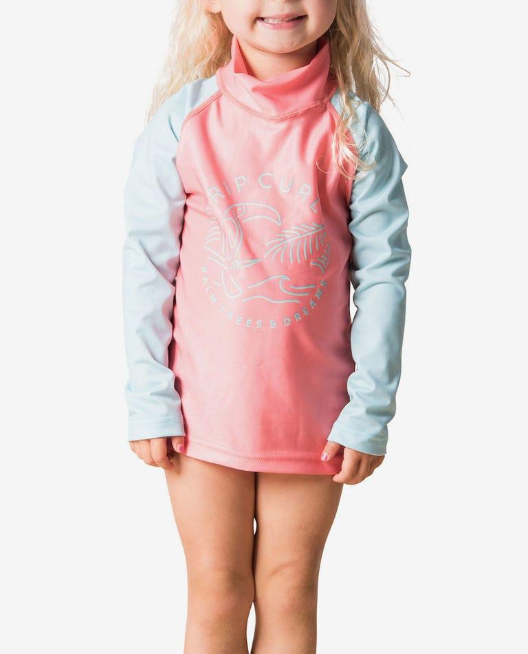 Mini Palm Dreams Long Sleeve UV Tee Rash Vest in Peach
