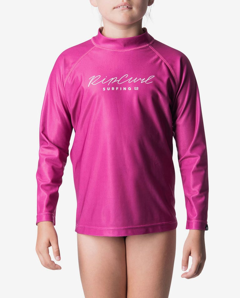 Junior Girls Rosewood Rash Guard in Pink