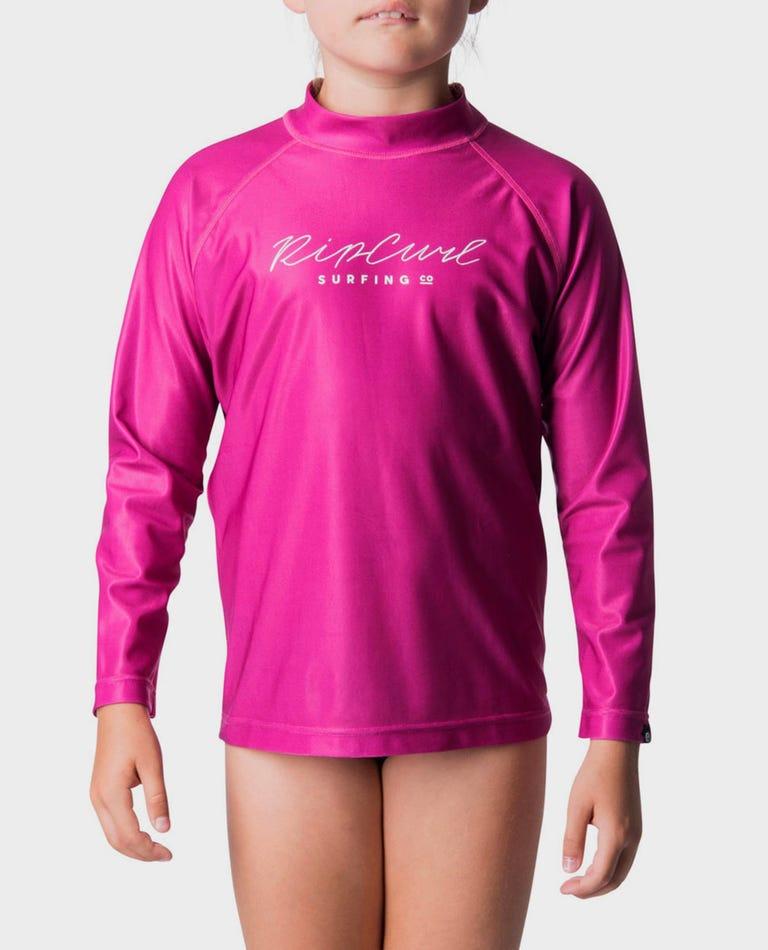Junior Girls Rosewood Rash Guard in Pink