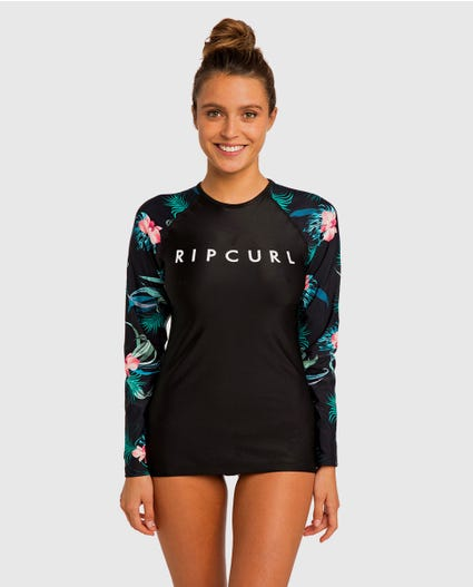 Cloud Break Relaxed Long Sleeve Rash Guard in Black