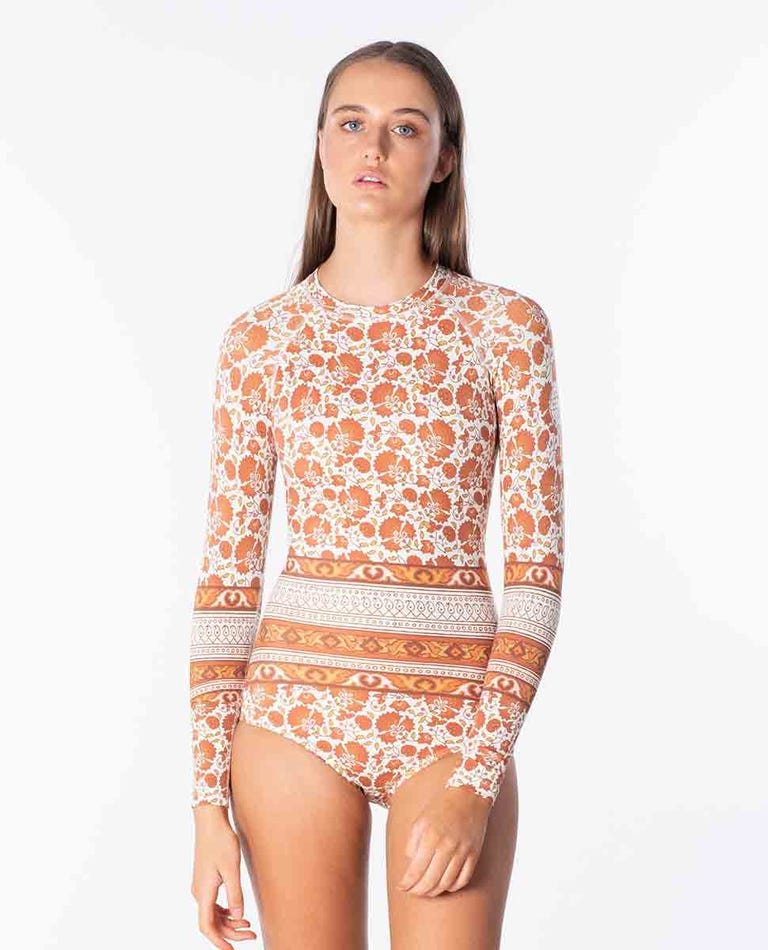G-Bomb Long Sleeve One Piece Back Zip UV Surfsuit in Burnt Orange