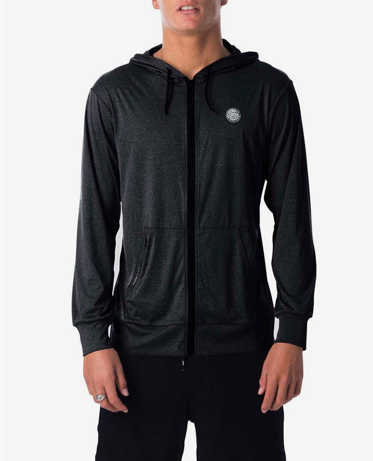 Search Surflite Hood Long Sleeve UV Tee Rash Guard in Black Marle
