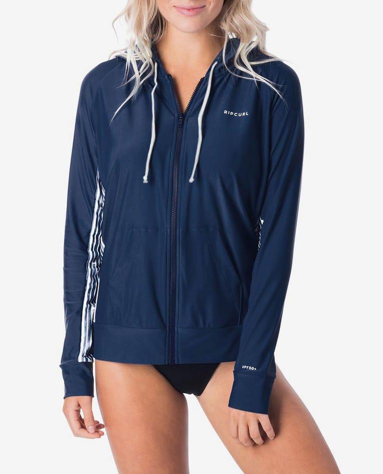 Womens Long Sleeve Zip Surf Hoodie in Blue