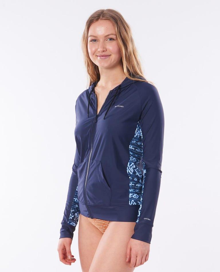 Womens Long Sleeve Zip Surf Hoodie in Mid Blue