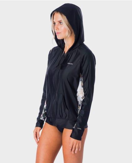 Womens Long Sleeve Zip Surf Hoodie in Black
