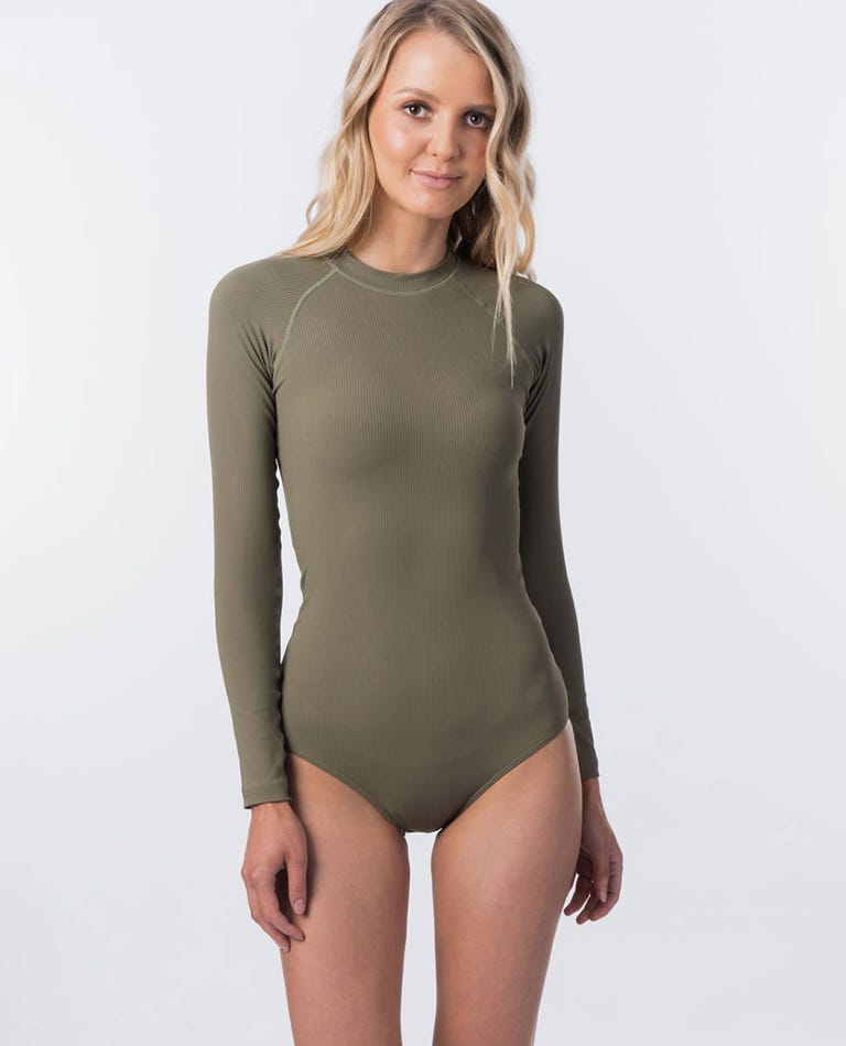 G Bomb Long Sleeve Surfsuit Rash Guard in Olive