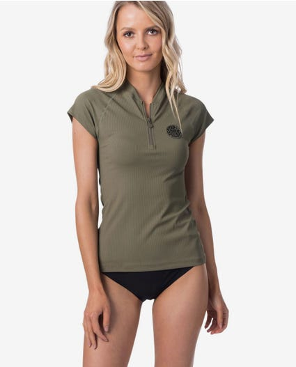 Premium Rib Front Zip Cap Sleeve UV Tee Rash Vest in Olive