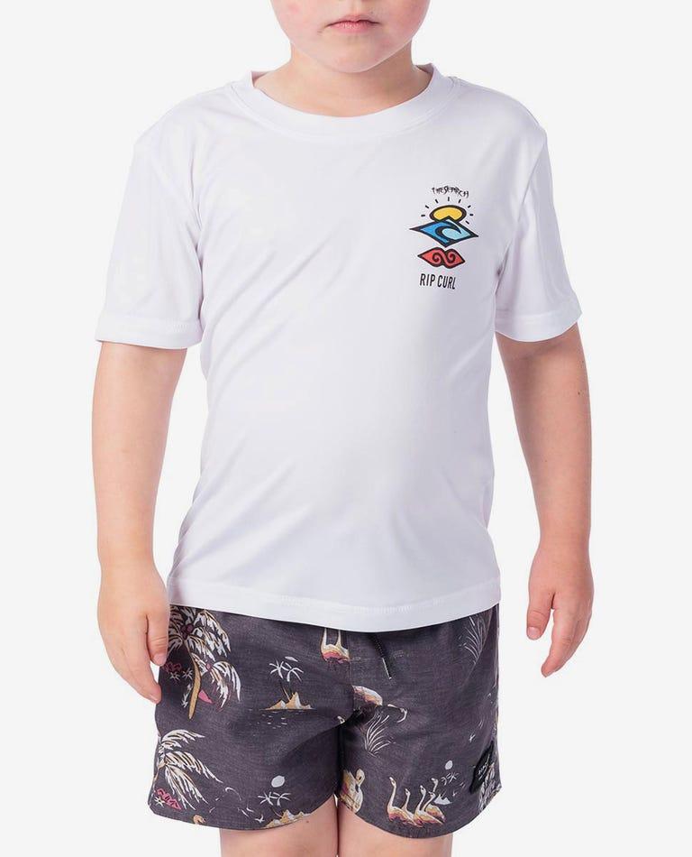 Grom Search Logo Short Sleeve UV Tee Rash Vest in White