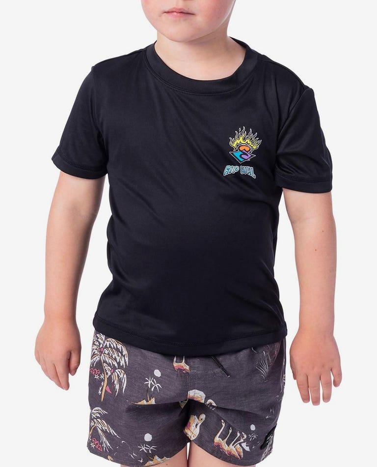 Grom Search Logo Short Sleeve UV Tee Rash Vest in Black Marle