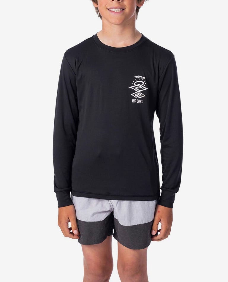 Boys Search Logo Long Sleeve UV Tee Rash Vest in Black