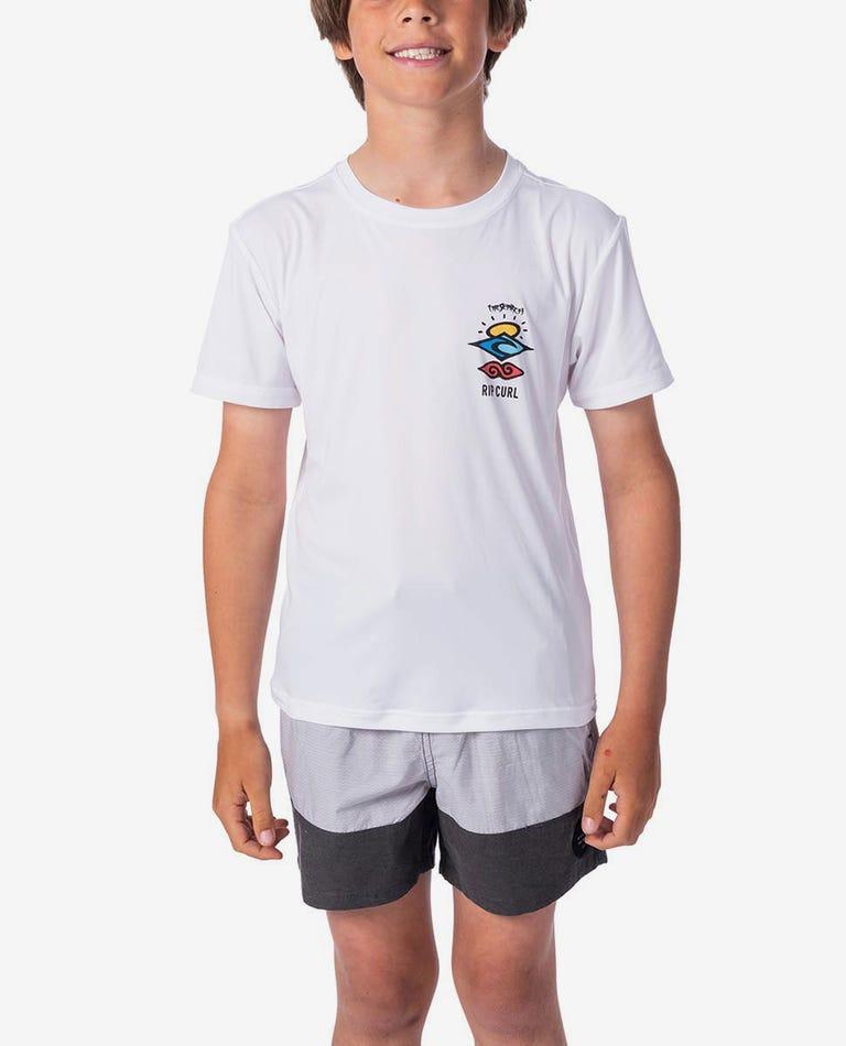 Boys Search Logo Short Sleeve UV Tee Rash Vest in White