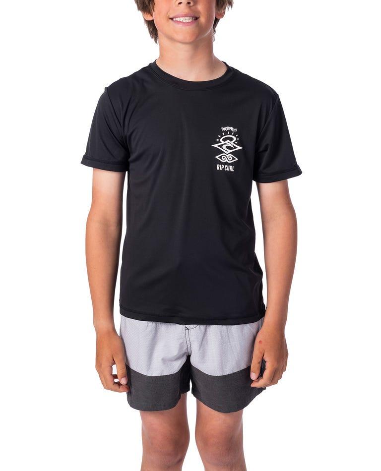 Boys Search Logo Short Sleeve UV Tee Rash Vest in Black