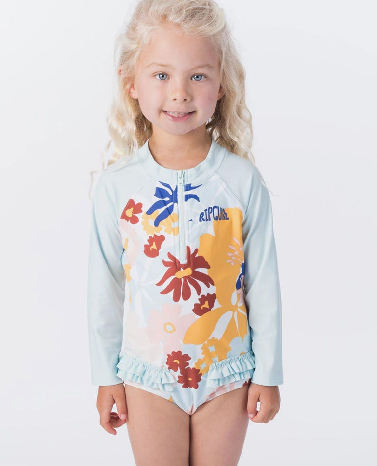 Mini Coconut Time Long Sleeve Suit in Blue