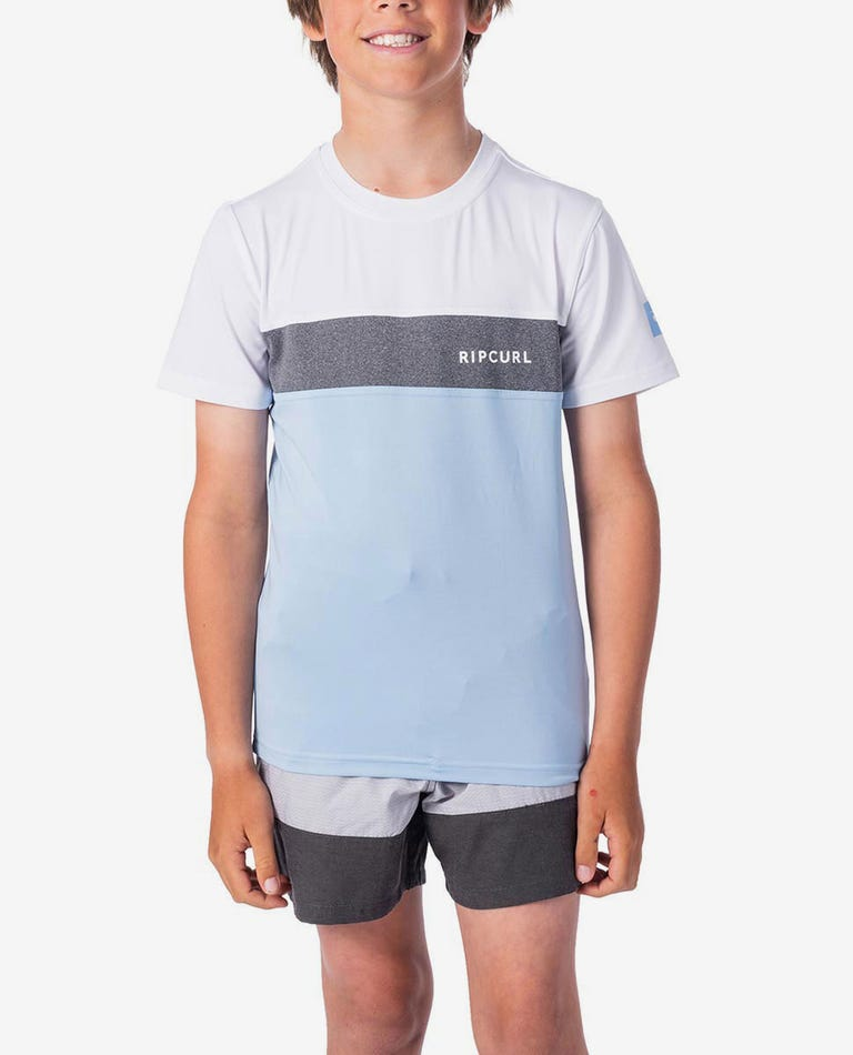 Boys Underline Panel Short Sleeve UV Tee Rash Vest in Blue