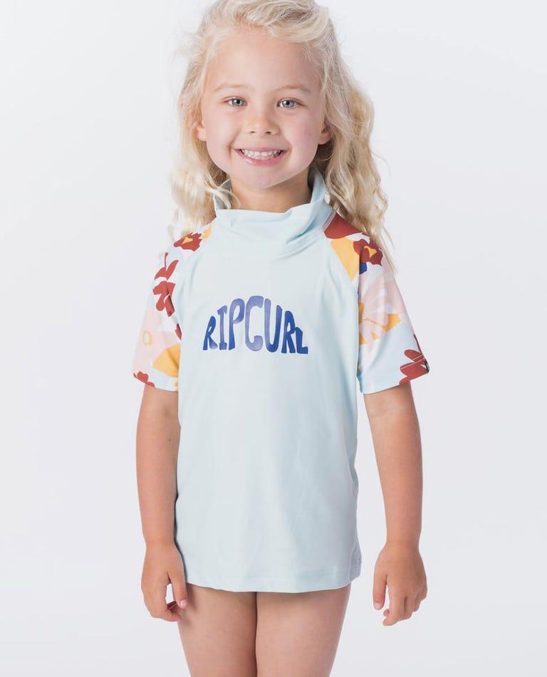 Mini Coconut Time Short Sleeve UV Tee Rash Vest in Blue