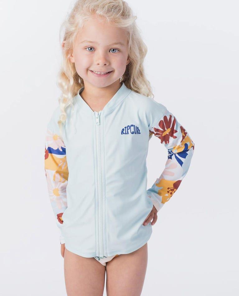 Mini Coconut Time Zip Long Sleeve UV Tee Rash Vest in Blue