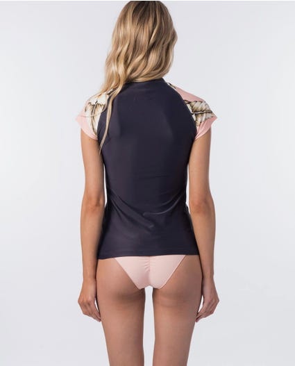 Island Time Cap Sleeve UV Tee Rash Vest in Light Pink