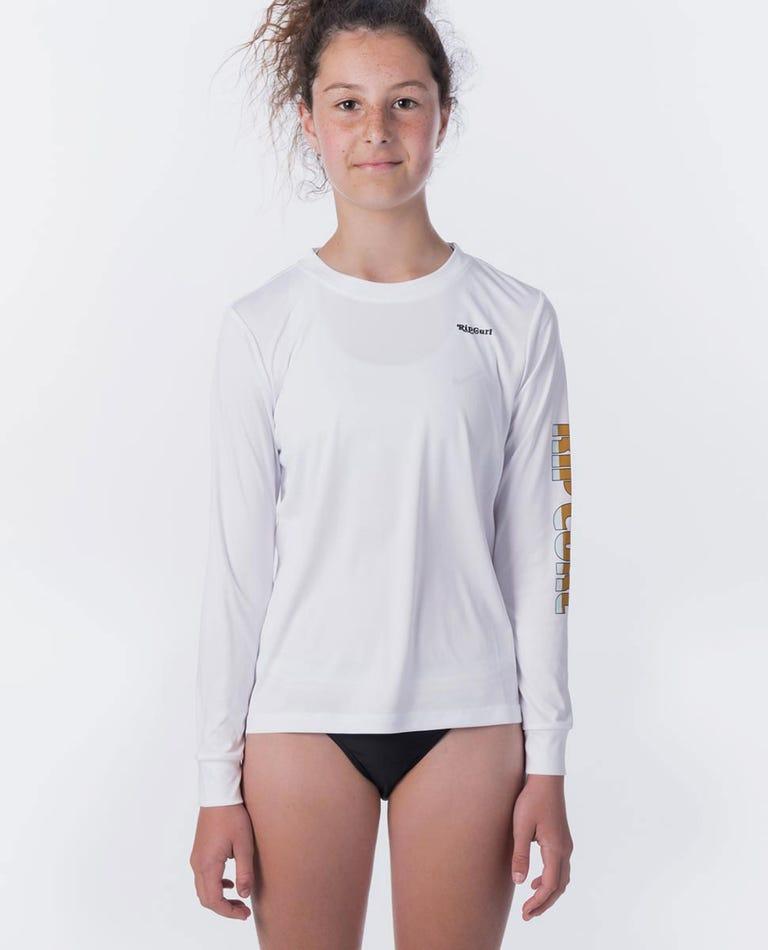 Jnr Girl Old Waves Long Sleeve UV Tee Rash Vest in White