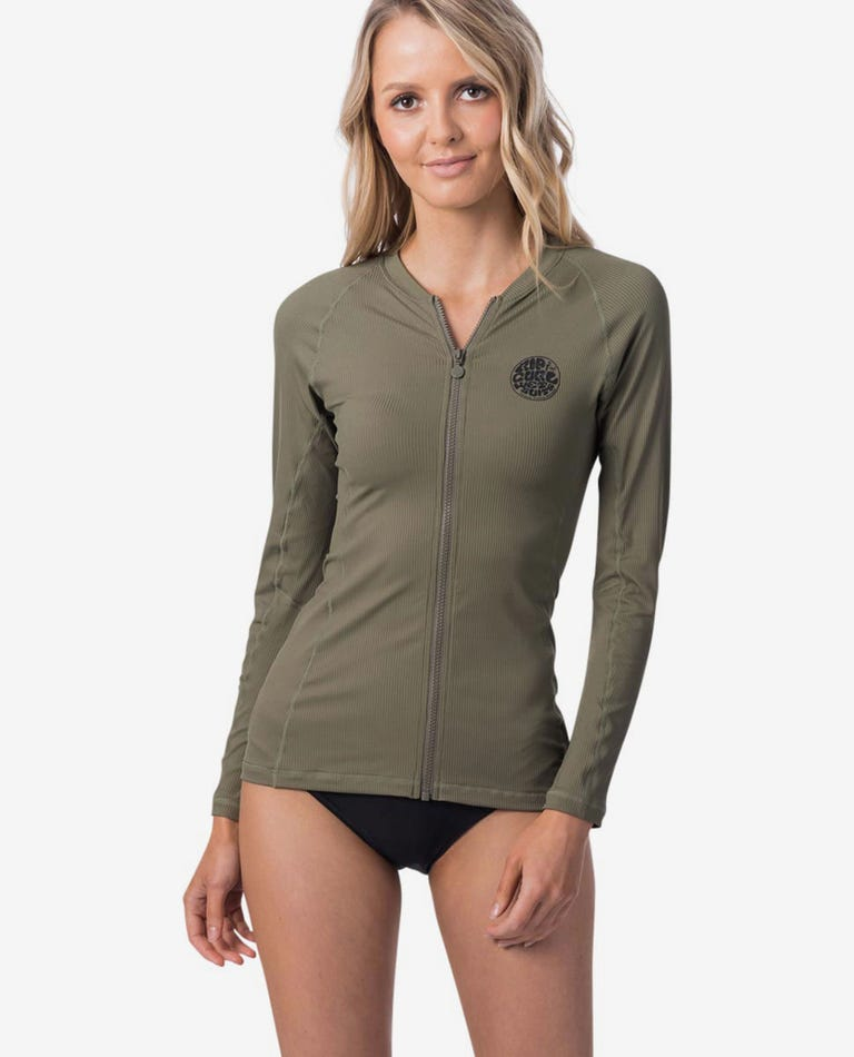 Premium Rib Zip Thru Long Sleeve UV Tee Rash Vest in Olive