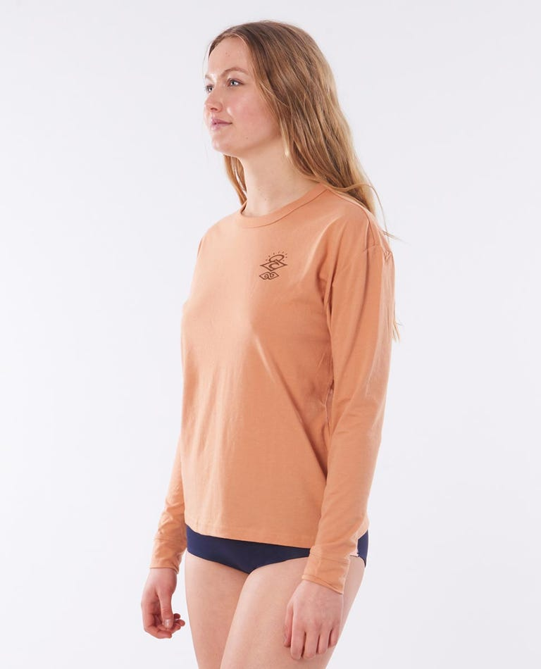 Searchers Poly/Cotton Long Sleeve Rash Vest in Coffee