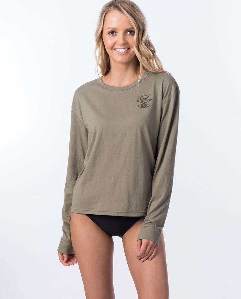 Searchers Poly/Cotton Long Sleeve Rash Vest in Olive